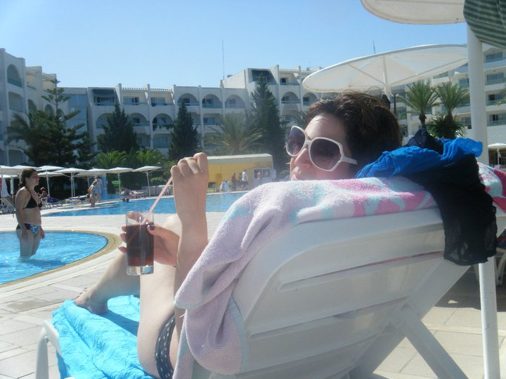 Relaxing by the pool in Tunisia